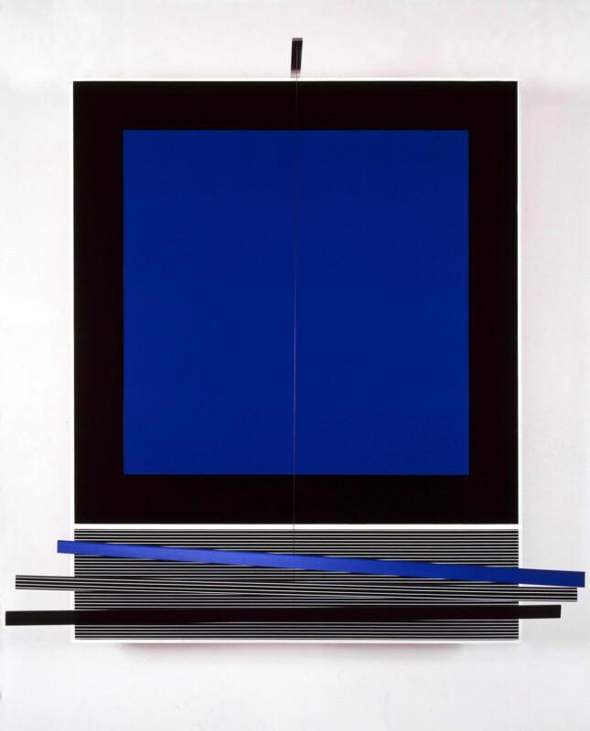 Soto Cuadrado azul con tres barras 1989