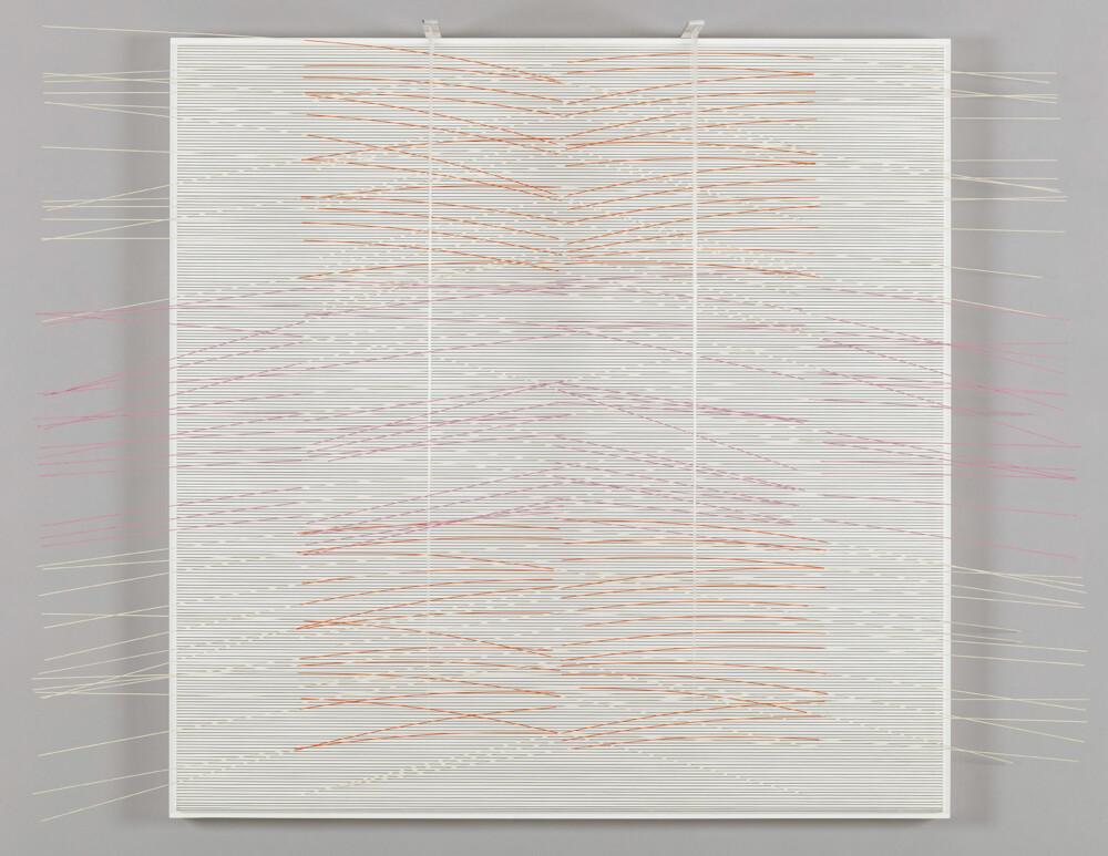 Soto Vibración rosa blanca y naranja 1990