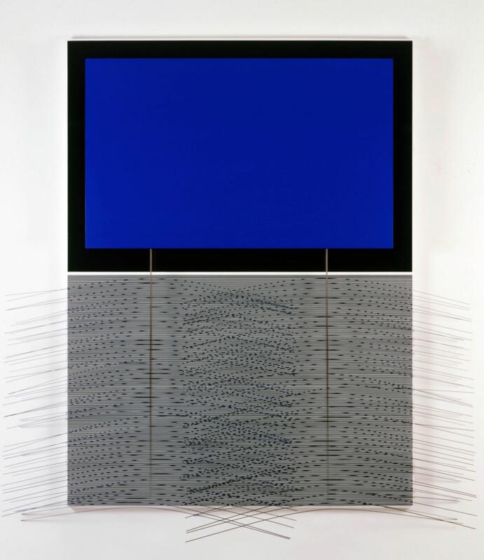 Soto Rectangle bleu avec tiges 1994