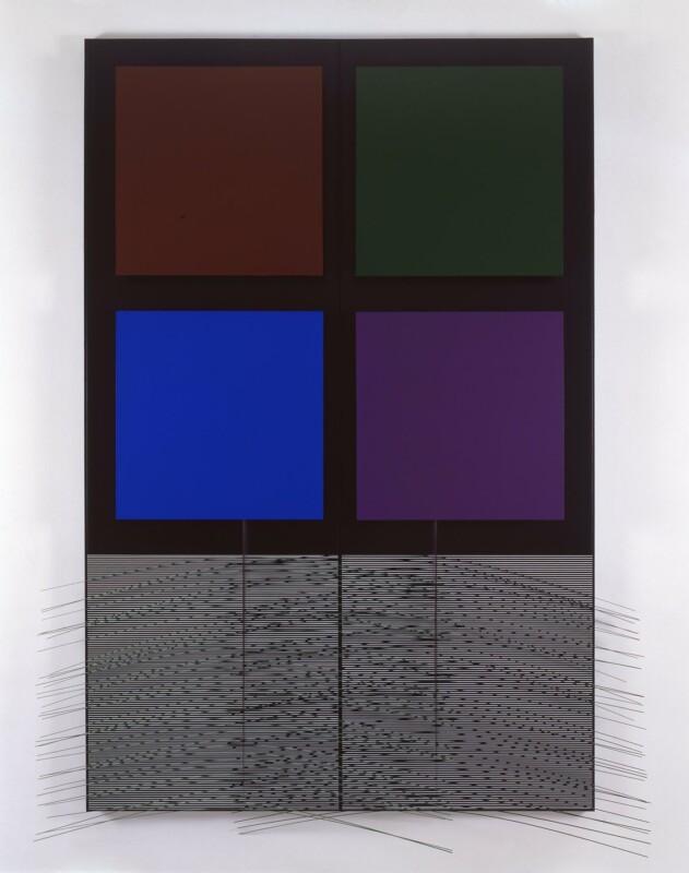 Soto Vibración verde y negra y cuadrados 1998